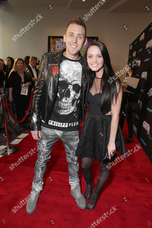 "Writer/Director/Producer/Actor Roman Atwood and Brittney Smith seen at Lionsgate Los Angeles Premiere of ""Natural Born Pranksters"" at Regal L.A. LIVE, in Los Angeles"
