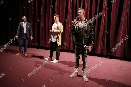 "Writer/Producer/Actor Dennis Roady, Writer/Actor Vitaly Zdorovetskiy and Writer/Director/Producer/Actor Roman Atwood seen at Lionsgate Los Angeles Premiere of ""Natural Born Pranksters"" at Regal L.A. LIVE, in Los Angeles"
