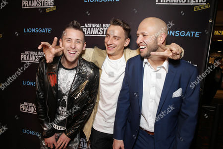 "Writer/Director/Producer/Actor Roman Atwood, Writer/Actor Vitaly Zdorovetskiy and Writer/Producer/Actor Dennis Roady seen at Lionsgate Los Angeles Premiere of ""Natural Born Pranksters"" at Regal L.A. LIVE, in Los Angeles"