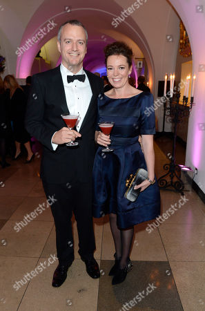 Ed Sinclair, Olivia Colman poses at London Film Festival Awards 2012 at Banqueting House on in London