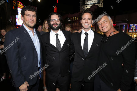 """New Line Cinema's Richard Brenner, Screenwriter Gary Dauberman, Producer Peter Safran and Director John R. Leonetti seen at Los Angeles Special Screening of New Line Cinema's """"Annabelle"""", in Hollywood"""