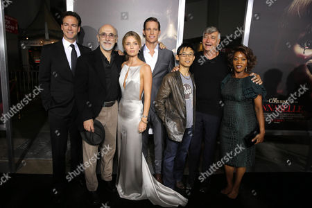 """Producer Peter Safran, Tony Amendola, Annabelle Wallis, Ward Horton, Producer James Wan, Director John R. Leonetti and Alfre Woodard seen at Los Angeles Special Screening of New Line Cinema's """"Annabelle"""", in Hollywood"""