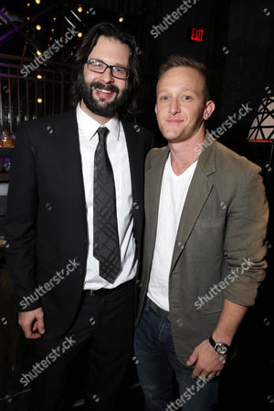 """Screen Writer Gary Dauberman and Eric Ladin seen at Los Angeles Special Screening of New Line Cinema's """"Annabelle"""", in Hollywood"""