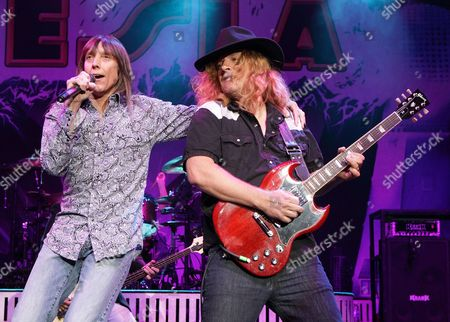 Jeff Keith and Frank Hannon of the rock band Tesla perform in concert during the M3 Rock Fest at Merriweather Post Pavilion, in Columbia, Md