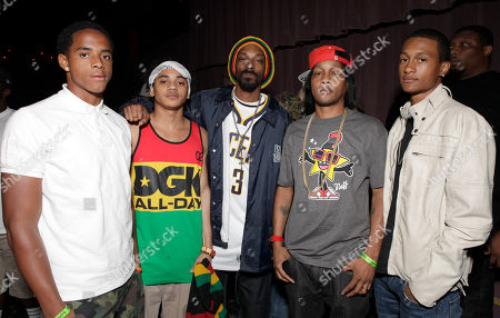 Cordell Broadus, Corde Broadus, Snoop Dogg, David Blake aka DJ Quik and David Blake Jr. arrive at the Mac and Devin Go to High School DVD Preview featuring Snoop Dogg and Wiz Khalifa on in Los Angels