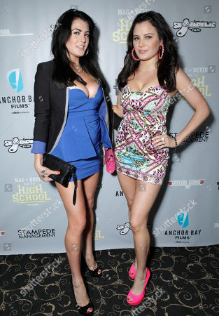 Stock Picture of Carla Howe and Melissa Howe arrive at the Mac and Devin Go to High School DVD Preview featuring Snoop Dogg and Wiz Khalifa on in Los Angels
