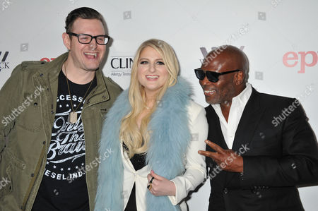 Kevin Kadish, from left, Meghan Trainor, and LA Reid arrive at Meghan Trainor's Debut Album Release Party at The Warwick, in Los Angeles