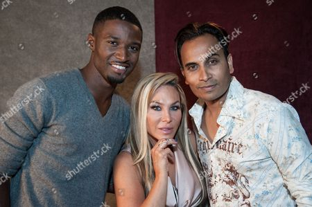 "From left, JC Jones, Adrienne Maloof, Reggie Benjamin attend Reggie Benjamin's ""Mission Save Her"" recording session, in Los Angeles"