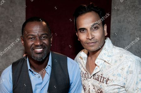 "Brian McKnight, left, and Reggie Benjamin attend Reggie Benjamin's ""Mission Save Her"" recording session, in Los Angeles"