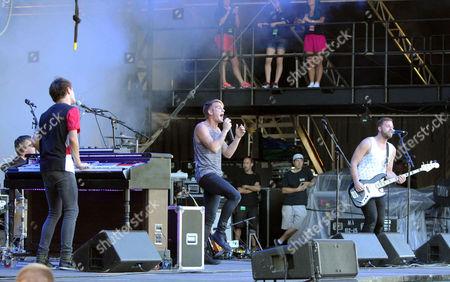 Keegan Calmes, Chris Senner and Josh Pothier with Vinyl Theatre performs during Music Midtown 2015 at Piedmont Park, in Atlanta