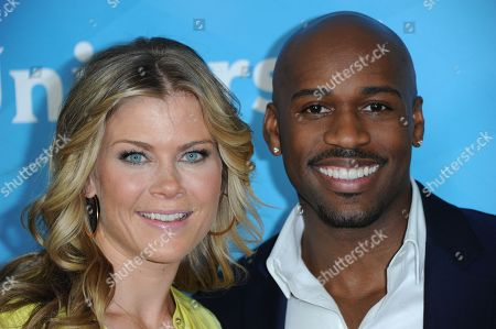 Alison Sweeney, left, and Dolvett Quince attend the NBC Universal Winter TCA Tour at the Langham Huntington Hotel, in Pasadena, Calif