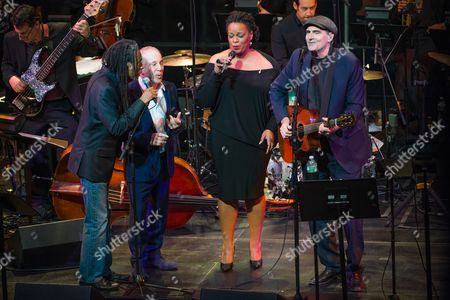 L-R) Bobby McFerrin, Paul Simon, Dianne Reeves, and James Taylor perform at the 'Nearness of You' concert at Frederick P. Rose Hall, Jazz at Lincoln Center, in New York