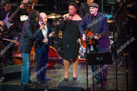 Bobby McFerrin, left, Paul Simon, second from left, Dianne Reeves, and James Taylor, right, perform at the Nearness of You Concert at Jazz at Lincoln Center, in New York