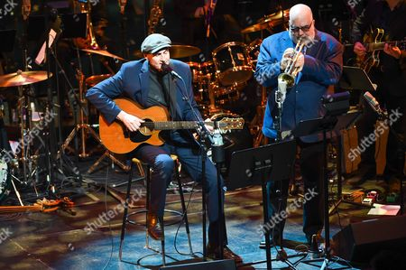 James Taylor and Randy Brecker (right) perform at the Nearness of You Concert at Jazz at Lincoln Center, in New York
