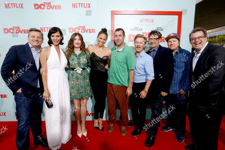"Netflix Chief Content Officer Ted Sarandos, Catherine Bell, Kathryn Hahn, Paula Patton, Producer/Actor Adam Sandler, David Spade, Director Steven Brill, Nick Swardson and Allen Covert seen at Netflix Presents ""The Do-Over"" Los Angeles Premiere at Regal Cinemas LA Live, in Los Angeles"