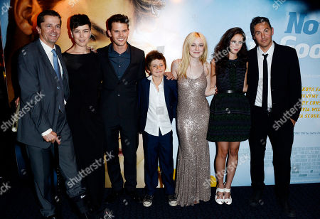 Pete czernin, Olivia Williams, Jeremy Irvine, Edgar Canham, Dakota Fanning, Kaya Scodelario, Ol Parker poses at Now is Good European Premiere at The Washington Hotel on in London