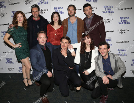 "From left, Jessy Hodges, Reid Scott, Britt Lower, Ryan Eggold, Brett Dalton, Beck Bennett, filmmaker Chris Lowell, Erink Darke and Will Brill attend the premiere of ""Beside Still Waters"" at the Sunshine Landmark Theater, in New York"