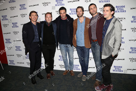 "From left, filmmaker Chris Lowell, Beck Bennett, Reid Scott, Ryan Eggold, Brett Dalton and Will Brill attend the premiere of ""Beside Still Waters"" at the Sunshine Landmark Theater, in New York"