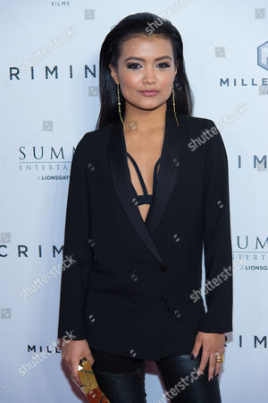"""Singer Jamila Velazquez attends the premiere of """"Criminal"""" at AMC Loews Lincoln Square, in New York"""