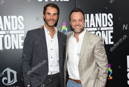 """Stock Picture of Executive producer Ben Silverman, left, and producer Jay Weisleder attend the U.S. premiere of """"Hands of Stone"""" at the SVA Theatre, in New York"""