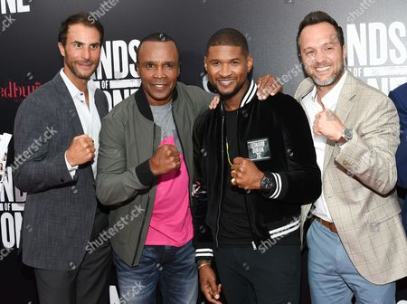 """Executive producer Ben Silverman, left, Sugar Ray Leonard, Usher Raymond and producer Jay Weisleder attend the U.S. premiere of """"Hands of Stone"""" at the SVA Theatre, in New York"""