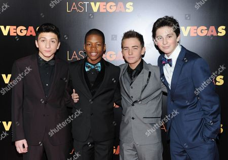 """Cast members, from left, RJ Fattori, Aaron Bantum, Noah Harden and Phillip Wampler attend the premiere of """"Last Vegas"""" at the Ziegfeld Theatre on in New York"""