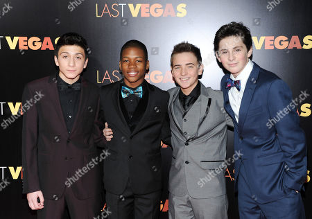 """Cast members, from left, RJ Fattori, Aaron Bantum, Noah Harden and Phillip Wampler attend the premiere of """"Last Vegas"""" at the Ziegfeld Theatre, in New York"""
