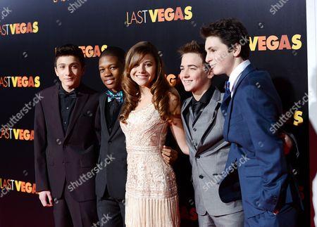 "Cast members, from left, RJ Fattori, Aaron Bantum, Olivia Struck, Noah Harden and Phillip Wampler attend the premiere of ""Last Vegas"" at the Ziegfeld Theatre, in New York"