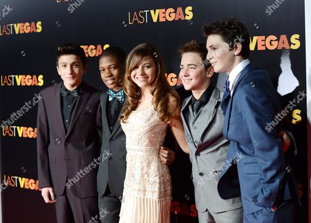 """Cast members, from left, RJ Fattori, Aaron Bantum, Olivia Struck, Noah Harden and Phillip Wampler attend the premiere of """"Last Vegas"""" at the Ziegfeld Theatre on in New York"""