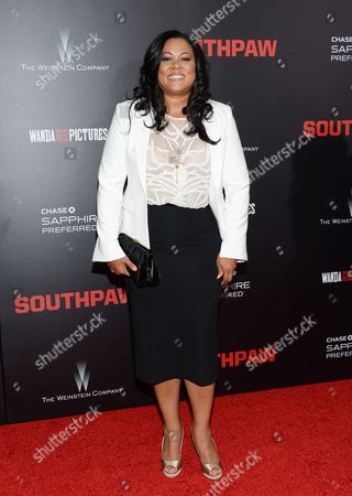 """Lela Fuqua attends the premiere of """"Southpaw"""" at the AMC Loews Lincoln Square, in New York"""