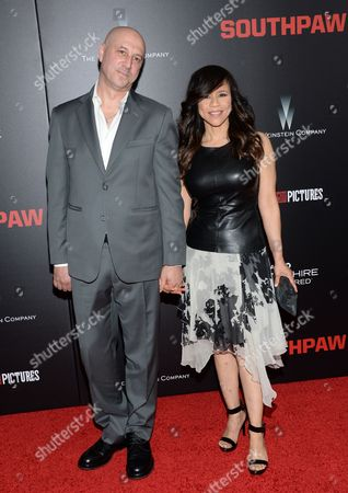 """Rosie Perez and husband Eric Haze attend the premiere of """"Southpaw"""" at the AMC Loews Lincoln Square, in New York"""