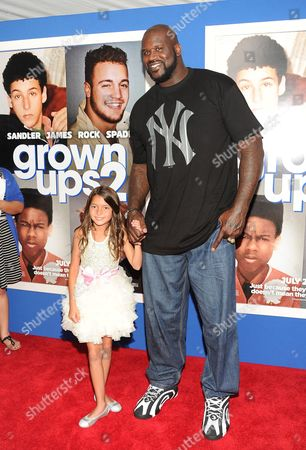 "Stock Photo of Retired basketball player and actor Shaquille O'Neal and actress Alexys Nycole Sanchez attend the premiere of ""Grown Ups 2"" at the AMC Loews Lincoln Square on in New York"