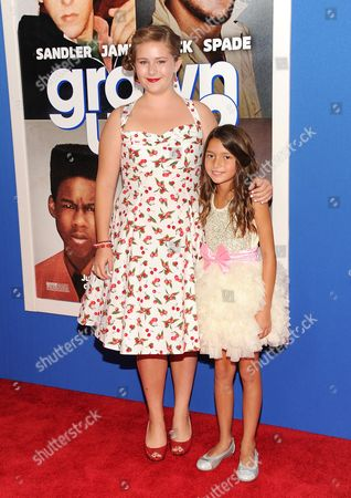 "Actresses Ada-Nicole Sanger, left, and Alexys Nycole Sanchez attend the premiere of ""Grown Ups 2"" at the AMC Loews Lincoln Square on in New York"