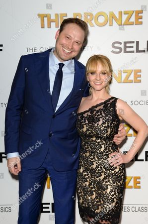 "Actress and co-writer Melissa Rauch with her husband and co-writer Winston Rauch attend a special screening of ""The Bronze"" at Metrograph, in New York"