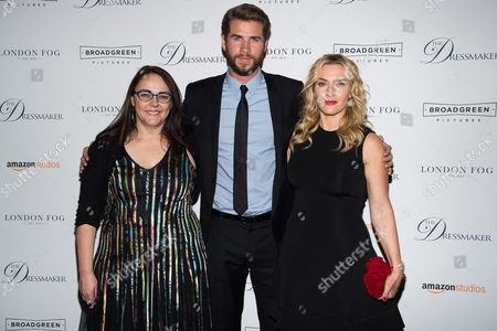 "Jocelyn Moorhouse, left, Liam Hemsworth and Kate Winslet attend a screening of ""The Dressmaker"" at Florence Gould Hall Theater, in New York"