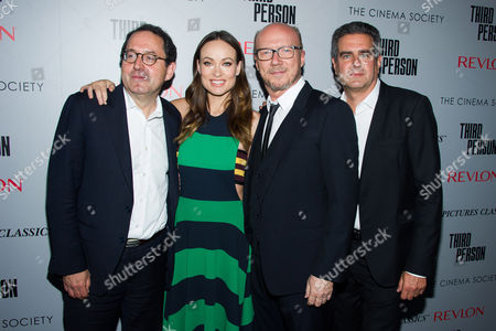 """Michael Barker, left, Olivia Wilde, Paul Haggis and Michael Nozik attend a screening of """"Third Person"""" hosted by the Cinema Society and Revlon on in New York"""