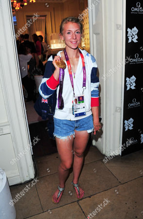 Katherine Copeland poses at OMEGA House presents Olympic Swimmers Attend at OMEGA House on in London