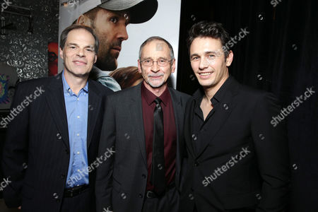 PREMIUM RATES APPLY Open Road's Tom Ortenberg, Novelist Chuck Logan and James Franco seen at Open Road 'Homefront' Premiere, on in Las Vegas