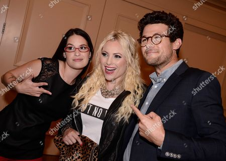 TakePart Live hosts Jacob Soboroff, right, Cara Santa Maria, left, and Raising McCain host Meghan McCain at Pivot's debut panel during the summer TCA at the Beverly Hilton Hotel on in Beverly Hills, Calif. Pivot presents it's network and series launch starting August 1, 2013