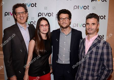 From left to right, CEO, Participant Media Jim Berk, TakePart Live host Cara Santa Maria, TakePart Live host Jacob Soboroff, and Pivot President Evan Shapiro at Pivot's debut panel during the summer TCA at the Beverly Hilton Hotel on in Beverly Hills, Calif. Pivot presents it's network and series launch starting August 1, 2013