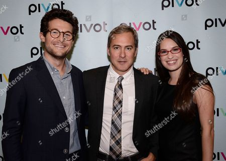 TakePart Live host Jacob Soboroff, left, Pivot SVP of Digital and Live Programming Craig Parks, center, and TakePart Live host Cara Santa Maria at Pivot's debut panel during the summer TCA at the Beverly Hilton Hotel on in Beverly Hills, Calif. Pivot presents it's network and series launch starting August 1, 2013