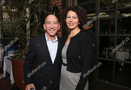 Peter Nichols, left, and Donna Langley attend the Power Lawyers Breakfast hosted by the Hollywood Reporter at Spago, in Beverly Hills, Calif