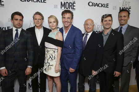 Christian Cooke, Cary Elwes, Kate Bosworth, Dennis Quaid, Executive Producer Laurence Mark, Creator/Writer/Executive Producer Chuck Rose and Eric Berger, GM of Crackle, seen at Los Angeles Premiere for Crackle's 'The Art of More' at Sony Pictures, in Los Angeles, CA
