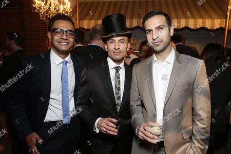 Hamza Haq, Michael Reventar and Saad Siddiqui seen at Los Angeles Premiere for Crackle's 'The Art of More' at Sony Pictures, in Los Angeles, CA