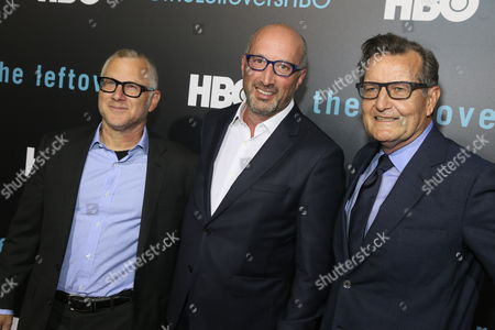 """Tom Perrotta, Tom Spezialy and Gene Kelly arrive for the season two premiere of """"The Leftovers"""" at the Paramount Theatre, in Austin, Texas"""