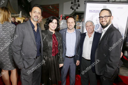 Producer Grant Heslov, Sue Kroll, President of Worldwide Marketing and International Distribution for Warner Bros. Pictures, Jeff Skoll, Participant Media Founder, Chairman & Acting Chief Executive Officer, Dan Fellman, President, Domestic Distribution, Warner Bros. Pictures, and Greg Silverman, President, Creative Development and Worldwide Production, Warner Bros. Pictures, seen at Los Angeles Premiere of Warner Bros. 'Our Brand is Crisis' at TCL Chinese Theatre, in Los Angeles, CA