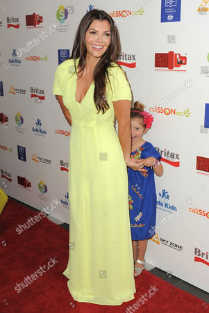 Ali Landry and her daughter Estela Ines Monteverde attend the 2nd Annual Red CARpet event at the SLS Hotel on in Beverly Hills, Calif