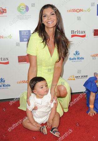 Ali Landry and her son Marcelo Alejandro Monteverde attend the 2nd Annual Red CARpet event at the SLS Hotel on in Beverly Hills, Calif