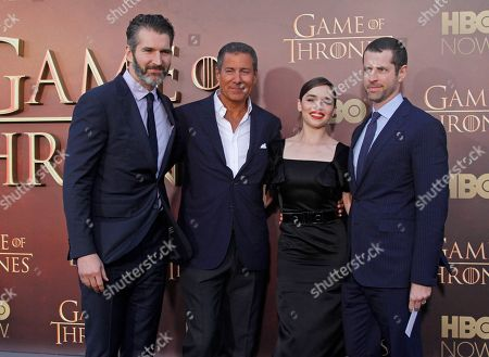 """David Benioff, from left, Richard Plepler, chairman and CEO of HBO, Emilia Clarke and Dan Weiss arrive at the Season 5 premier of """"Game of Thrones"""" at the War Memorial Opera House, in San Francisco"""