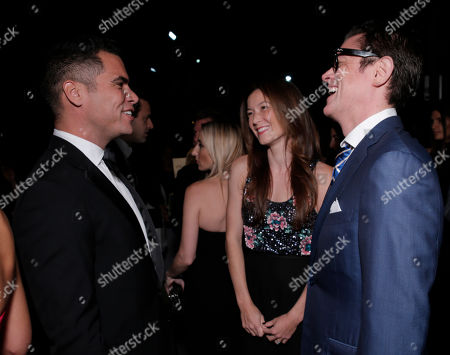 From left, Cash Warren, Naomi Nelson, and Johnny Knoxville arrive at the Second Annual Baby2Baby Gala honoring Drew Barrymore, on in Culver City, Calif